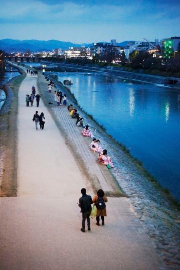 Pink Kimono on the River