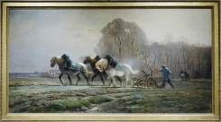 Charles-Émile Jacque - Ploughing with a Team of Horses in Brie 1864