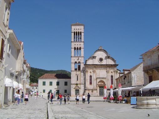 Hvar - Main Square facing Cathedral of Sv. Stjepan