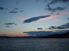 Sunset towards Trogir